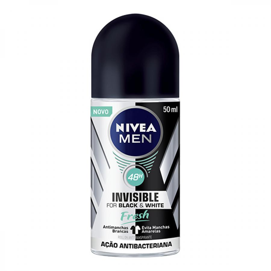 Desodorante Nivea Rollon Black White Fresh Masculino 50ml